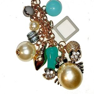 Zodiac Cancer Crab Beach Pearl Bead Key Chain